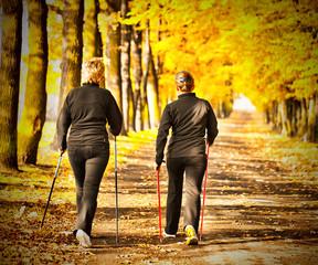 Two women in the park - Nordic walking
