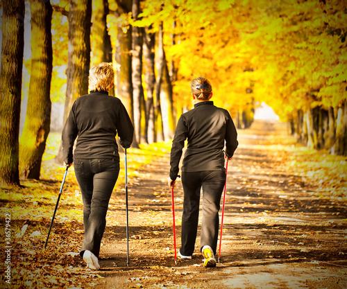 Fotografía  Two women in the park - Nordic walking