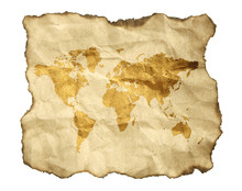 Ancient Map, Isolated On A Whi...