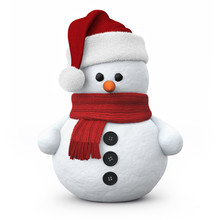 Snowman With Santa Hat