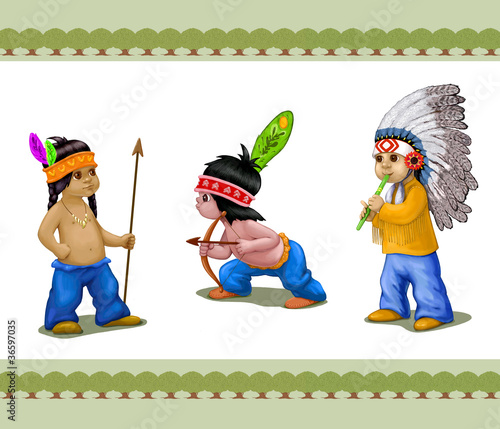 Printed kitchen splashbacks Indians Three Indian