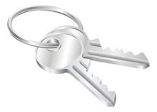 Two Keys On A Keyring Illustration
