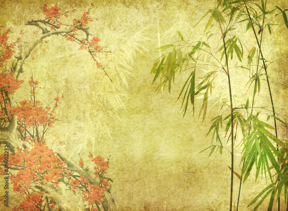 bamboo and plum blossom on old antique paper texture .
