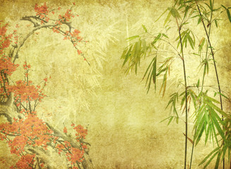 Fototapeta Bambus bamboo and plum blossom on old antique paper texture .