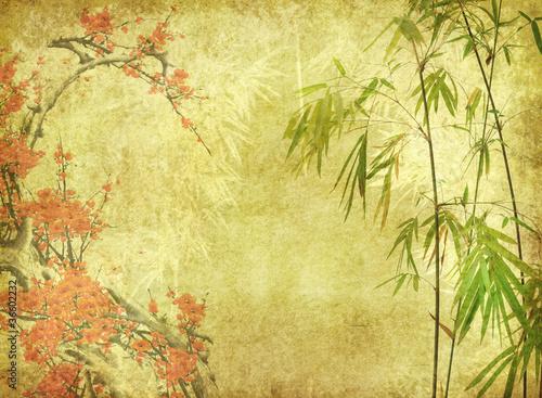 kwiat-bambusa-i-sliwki-na-stary-tekstura-papieru-antykow