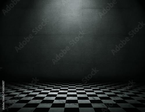Fotografía Grunge empty interior with checkered marble floor
