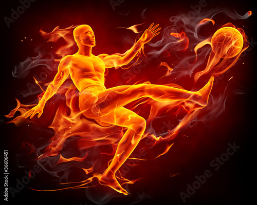 Poster Flamme Fire soccer player