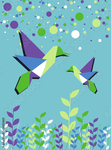 Door stickers Geometric animals Origami hummingbird couple spring time