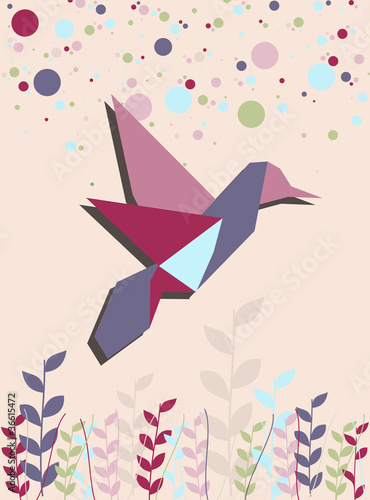 Door stickers Geometric animals Single Origami hummingbird in pink