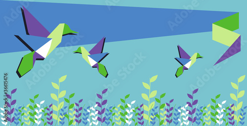 Door stickers Geometric animals Origami hummingbird spring time