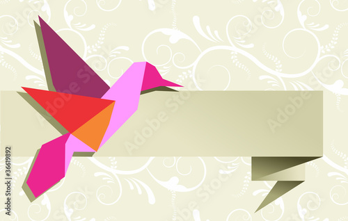 La pose en embrasure Animaux geometriques Single Origami hummingbird over floral background