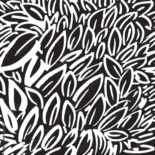 Fototapety, obrazy: black and white background with leaves