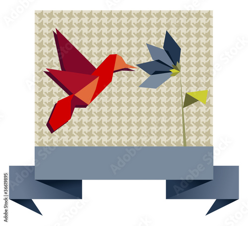 Tuinposter Geometrische dieren Single Origami hummingbird over textile pattern