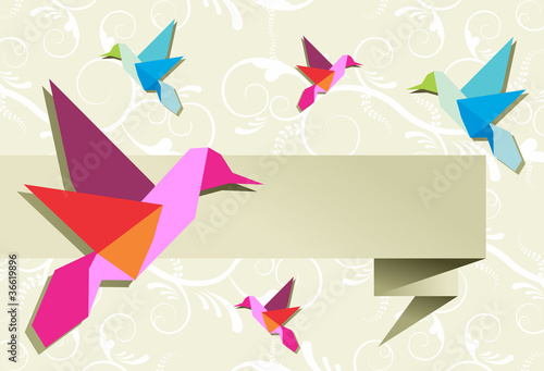 Papiers peints Animaux geometriques Origami hummingbird group with banner