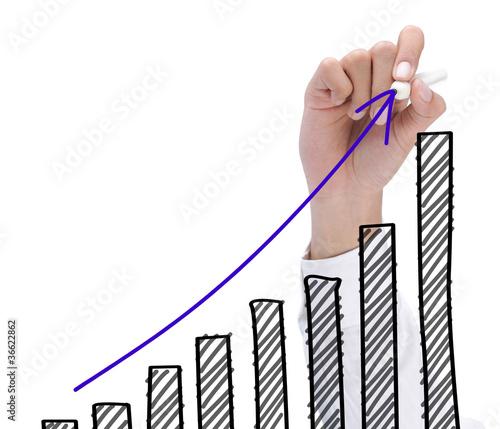 Fototapeta hand drawing growth chart. success business concept obraz na płótnie