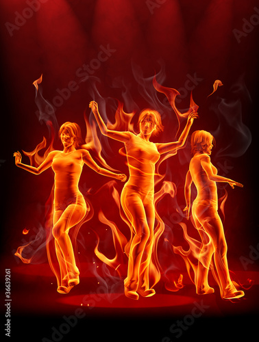 Recess Fitting Flame Dancing fire girls