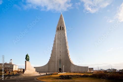 Fényképezés  Hallgrimskirkja church in Reykjavik, Iceland