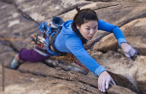 Aluminium Prints Mountaineering Female rock climber.