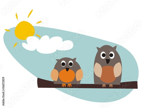 Garden Poster Birds, bees Funny owls sitting on branch on a sunny day vector illustration