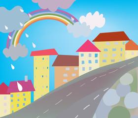 Smiješni gradski crtić za djecu s kišom