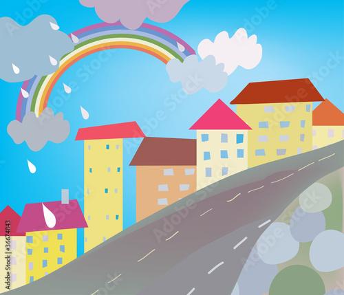 In de dag Regenboog Funny city cartoon for kids with rain