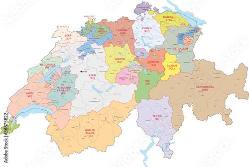 Fotografie, Obraz  Schweiz, Kantone, Bezirke