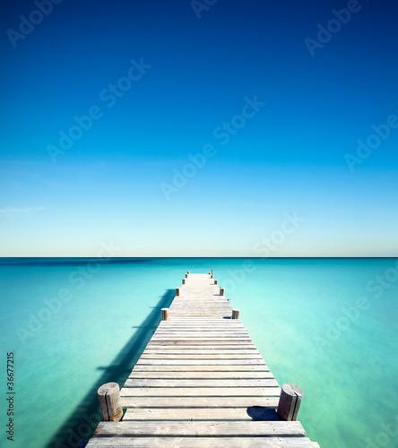 Foto-Schiebegardine Komplettsystem - plage vacances ponton bois