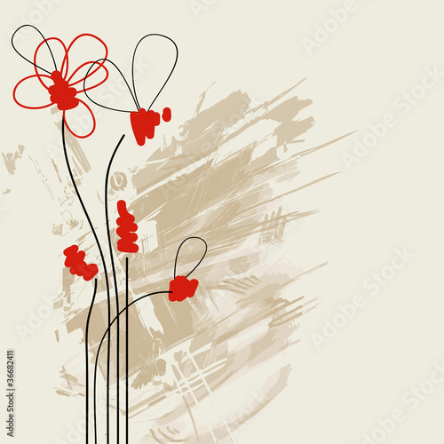 Tuinposter Abstract bloemen Abstract floral paint