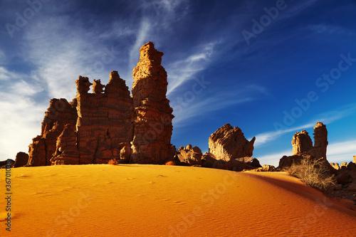 Poster de jardin Desert de sable Bizarre sandstone cliffs in Sahara Desert, Tassili N'Ajjer, Alge