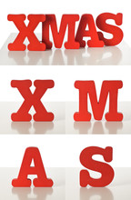 Red Xmas Letters Made ou...