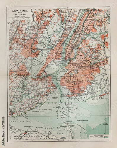 Photo  New York old map