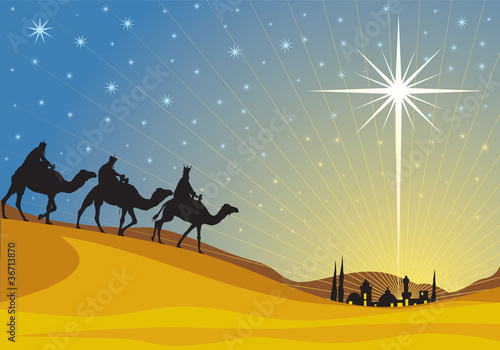Photo Classic three magi scene and shining star of Bethlehem.