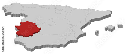 Map Of Spain Extremadura.Map Of Spain Extremadura Highlighted Buy This Stock Vector And