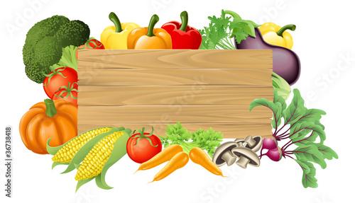 Fotografie, Obraz  Vegetable wooden sign illustration