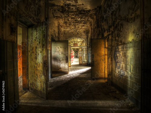 Printed kitchen splashbacks Old abandoned buildings Abandoned Hallway