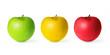 Trois pommes, fond blanc