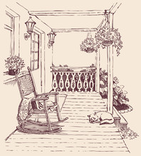 Vector Drawing  Rocking Chairs On The Veranda