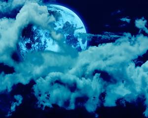 Obraz na Szklefull moon of a night sky