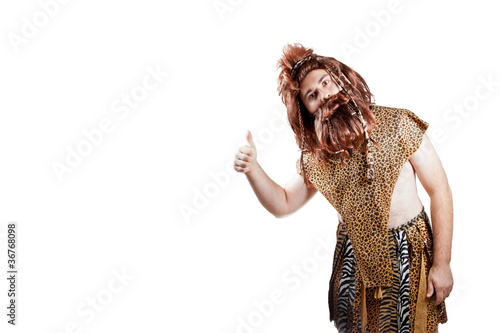 Photo  Caveman showing thumbs up sign on isolated background