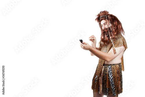 Caveman Phone : Caveman with a mobile phone 3 . buy this stock photo and explore