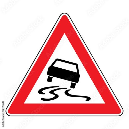 Poster  Verkehrsschild - 114 Schleudergefahr