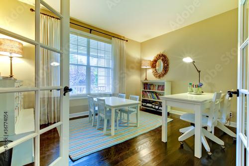 Valokuva  Kids study reading room or home school class interior.