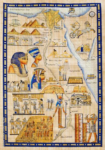 Papiers peints Egypte Antique Egypt map drawn on papyrus