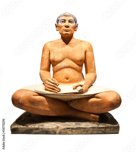 Cuadros en Lienzo Egyptian scribe's sculpture isolated with clipping path