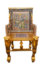 Copy Tuthankamen's Golden Throne Isolated With Clipping Path