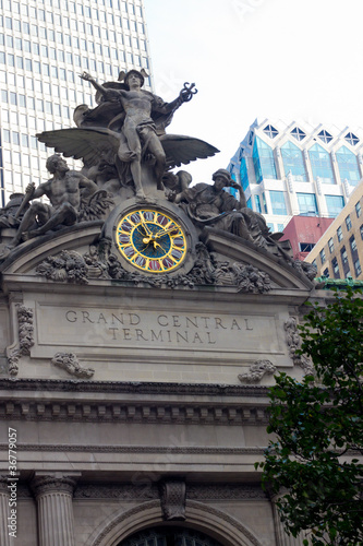 Photo  Historic Clock and Statue on Grand Central Station Terminal NYC