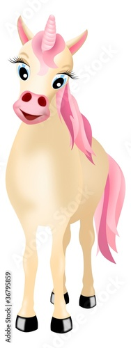 Garden Poster Pony unicorn with pink mane and tail