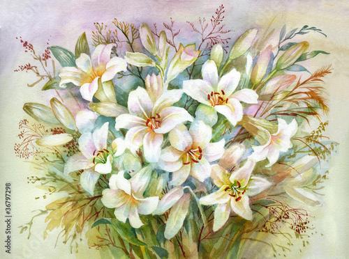 kolekcja-akwarela-kwiat-bukiet-lilii
