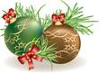 Palle di Natale e aghi di pino