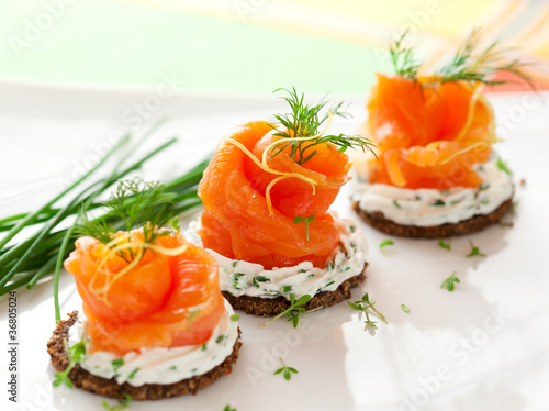 Fotografie, Obraz  Canapes with smoked salmon
